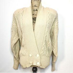 Escada wool silk cable knit cardigan sweater